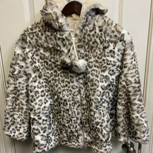 Fabulous Furs Leopard Print Faux Fur Cape Girls L